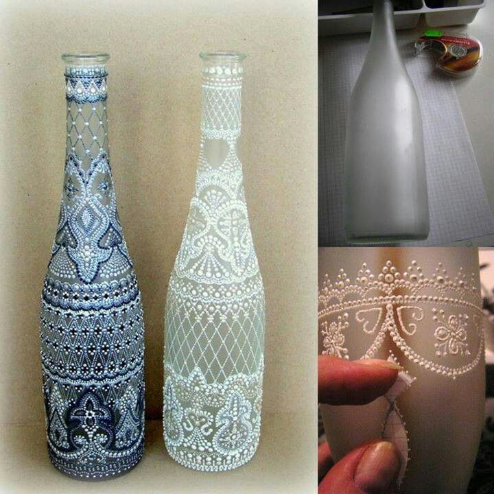 Reutiliza botellas de vidrio ideas para manualidades pinterest - Botellas de cristal decoradas ...