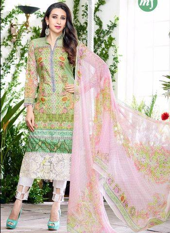 MF 64000 - Green & White Color Glazed Cotton Designer Suit