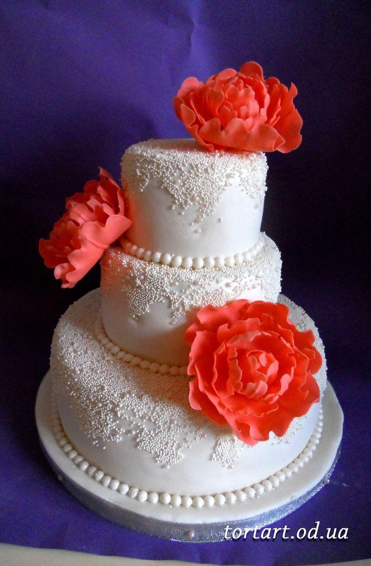"""свадебный торт """"коралловые пионы"""""""