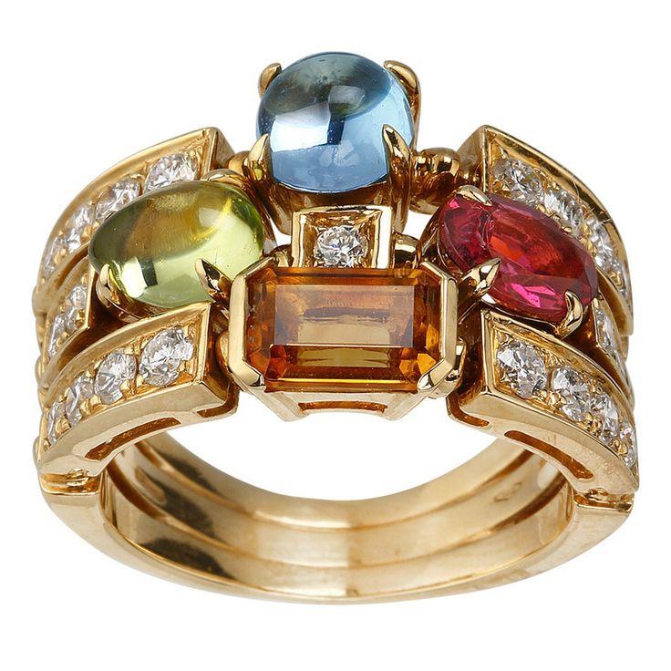 bulgari allegra color collection gemstone yellow gold ring