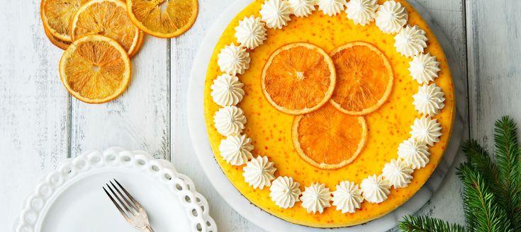 Saffran- och apelsincheesecake