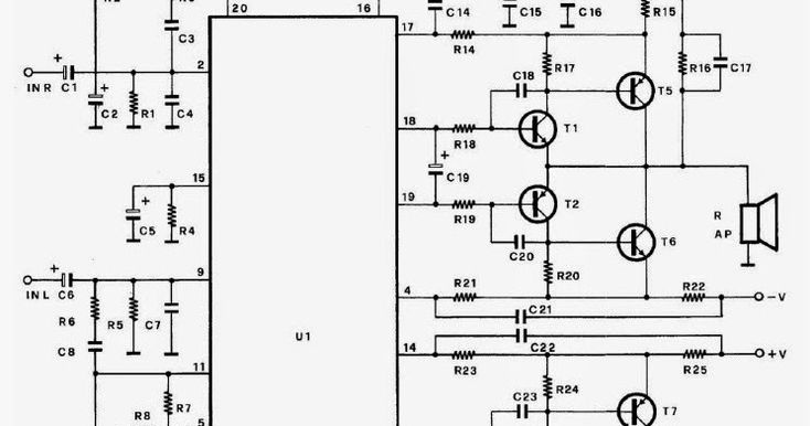This is the circuit diagram of 100W amplifier with paired ...
