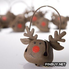 Reindeer Jingle Bell Ornaments - Christmas Decorations