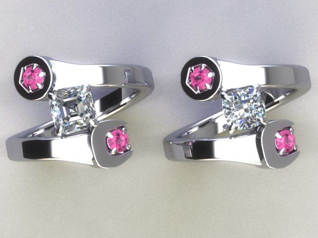 Custom Jewelry Gallery - Wrench ring. 14K white gold with pink sapphire stones. www.daviddouglas.com  phone inquiries: 770 578-0598