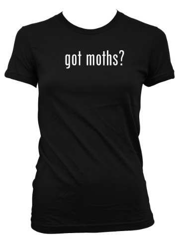 Fancy  got moths L A T Misses Cut Womens T Shirt Black Small