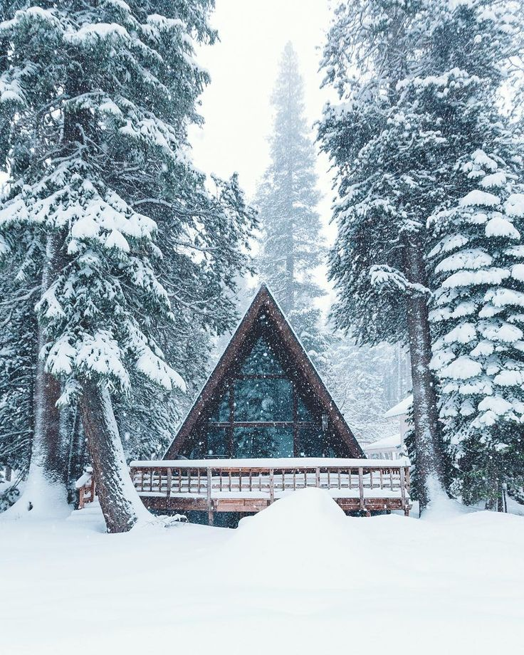 Snow falls on an A-frame cabin in the woods [1080x1350] : CabinPorn