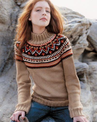 Пуловер с круглой жаккардовой кокеткой.. Обсуждение на LiveInternet - Российский Сервис Онлайн-Дневников