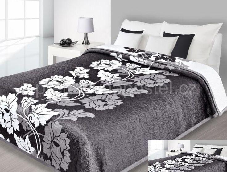 Oboustranné přehozy na postel černo bílé barvy