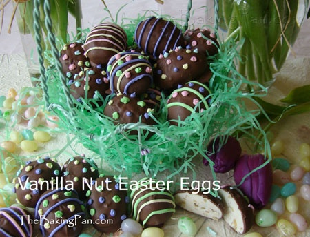Vanilla Nut Easter Eggs Recipe - TheBakingPan.com - How to Make Vanilla Nut Easter Eggs reamy milk chocolate covers these Easter eggs with a soft walnut nougat center. The nougat is a basic divinity recipe made extra rich with the addition of white chocolate. Use pastel tinted Royal Icing along with your imagination to turn these candy Easter eggs into treats your family will love.