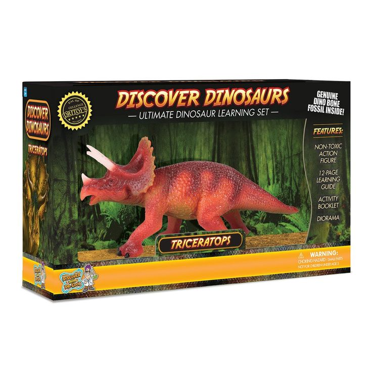 Triceratops Action Figure – Includes Real Dinosaur Bone Fossil!