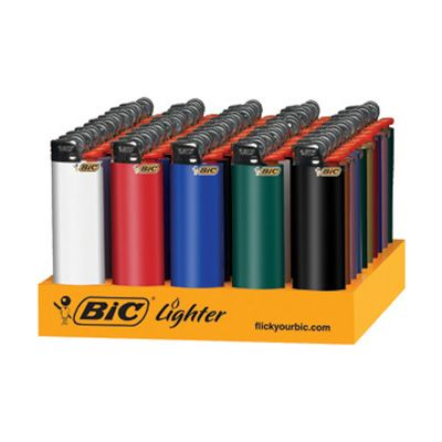 @ShopAndThinkBig.com - These are genuine Full Size BIC lighters that come packaged in a compact display for easy resale. Prop these on the shelf of your gas station, convenience store, or impulse isle and they are sure to be bought quickly. This variety box has assorted colors of red, blue, white, yellow, green, black, orange, and tan and all are child proof. BIC is one of the most well known and trusted names in l……