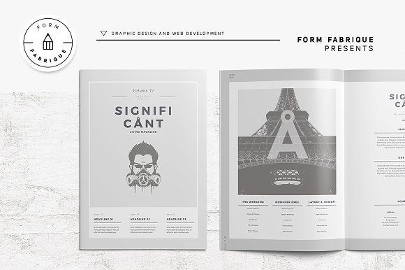 Significant Magazine by Form Fabrique on @creativemarket Ready for Print Magazine and Brochure template creative design and great covers, perfect for modern and stylish corporate appearance for business companies. Modern, simple, clean, minimal and feminine layout inspiration to grab some ideas.