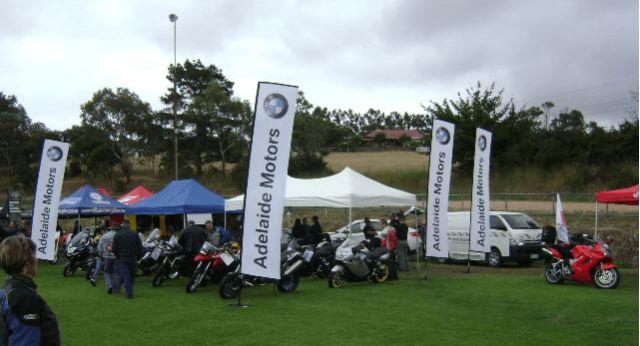 Rectangular flags for an outdoor event.