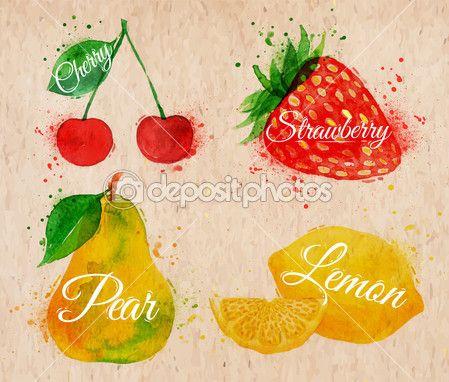 плоды акварель вишня, лимон, клубника, груша в Крафт — Стоковое векторное изображение © anna42f #47299861