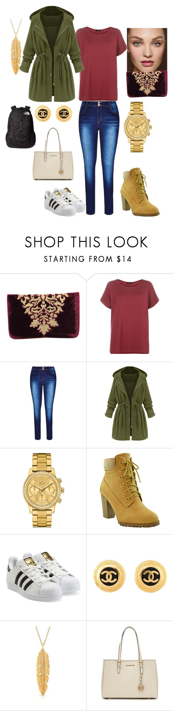 """wuah"" by meanixee on Polyvore featuring Shiraleah, City Chic, Lacoste, adidas Originals, Chanel, MICHAEL Michael Kors and The North Face"