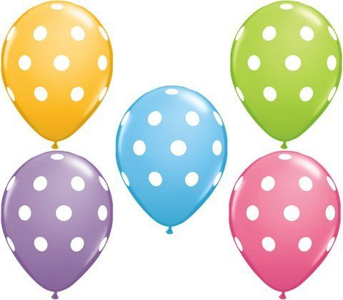 "Big Polka Dot White Spots Spring Assorted 11"" Latex Balloons x 5 by Missy Moo, http://www.amazon.co.uk/dp/B007EDMTXM/ref=cm_sw_r_pi_dp_HwO2sb0JA08Q3"