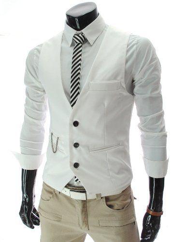 Amazon.co.jp: [ノーブランド品] スリムフィット ベスト チェーン & 3ボタン デザイン 3B サロン系 メンズ (4色選択 ブラック/ホワイト/グレー/ワイン) (L, ホワイト): Clothing & Accessories通販