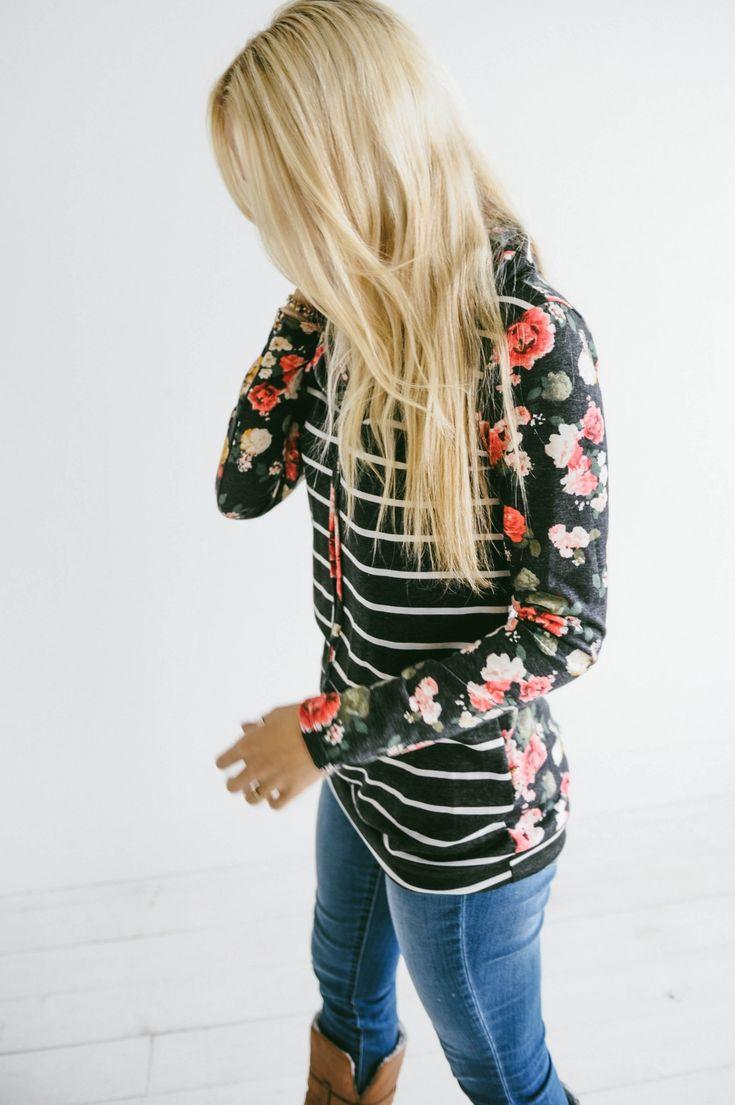 Stripes & Floral Hoodie - Photo 8
