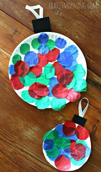 Paper Plate Tissue Paper Christmas Ornament Art Project. This is a Christmas craft that is great for all learning and ability levels. Finding crafts for students with significant disabilities is not always easy, but this is a perfect one. Get all the directions at: http://www.craftymorning.com/paper-plate-christmas-ornament-craft-kids/