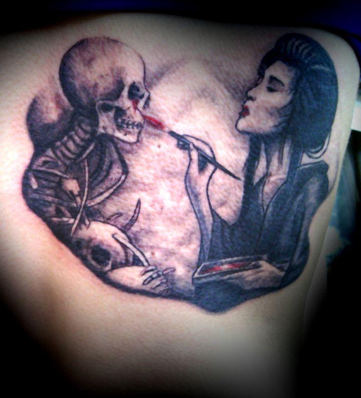 Geisha, Skull, Skeleton Tattoo