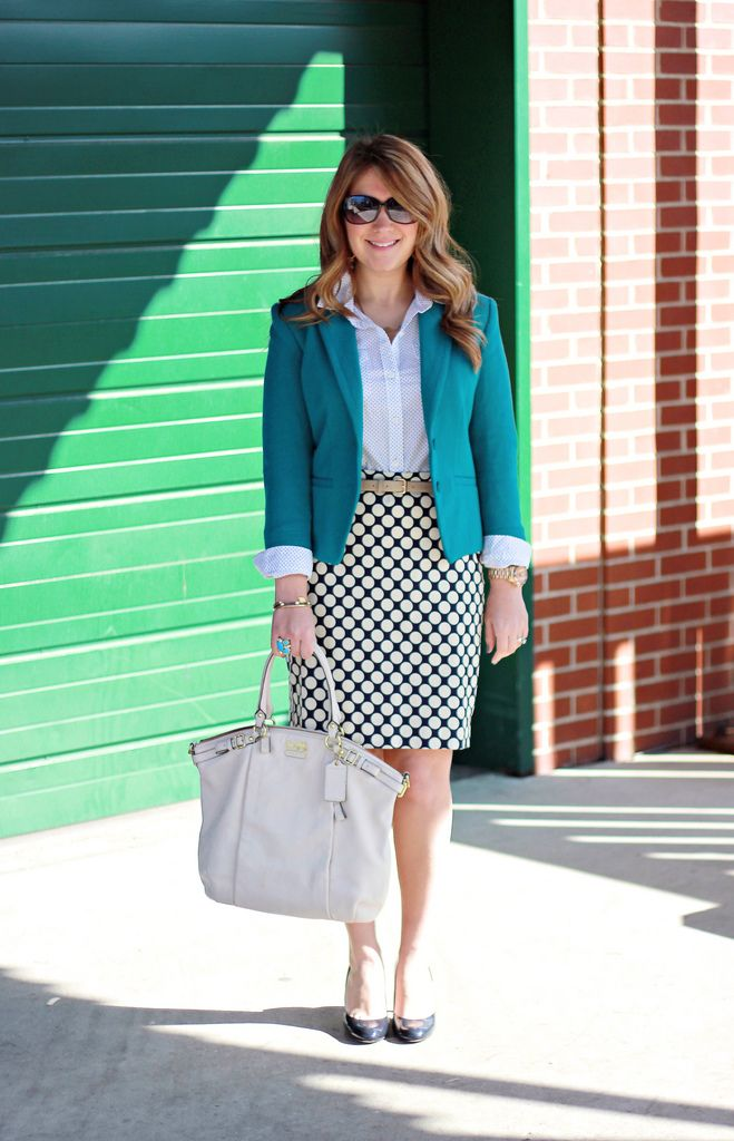 Polka Dot Skirt And Teal Blazer Business Casual Outfit