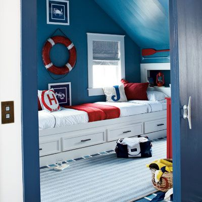 Captain's beds for brothers or just for more space and storage. Great colors.
