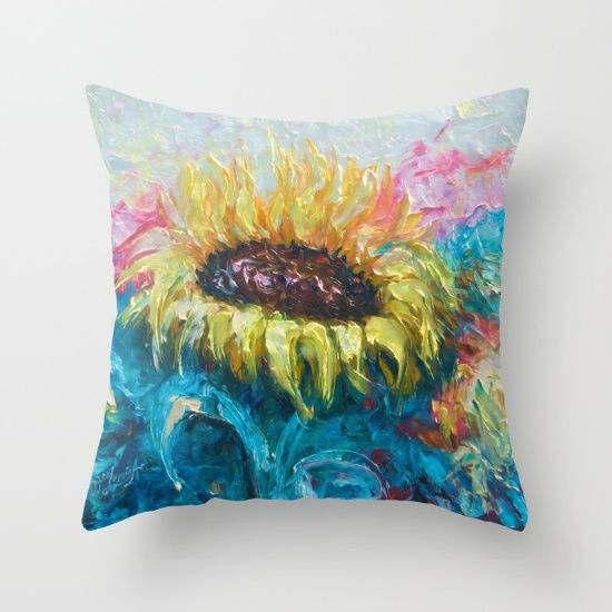 Sunny Flower by Lena Owens Throw Pillow