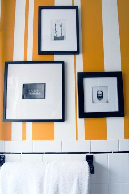 I love the uneven stripes over the vintage tile.