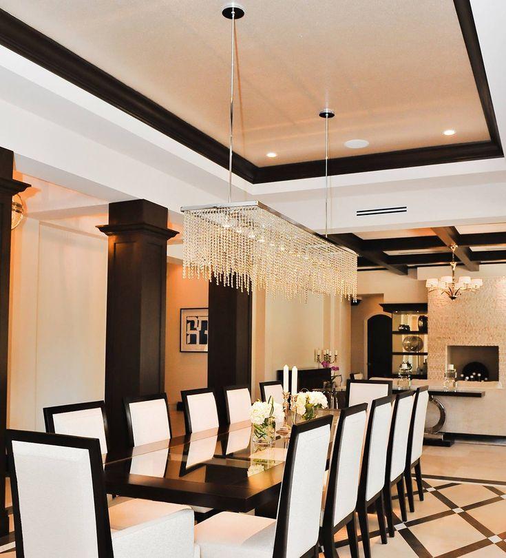 Contemporary Luxury Rectangular Linear Island Dining Room: NOXARTE Luxury Contemporary Big Crystal Chandelier