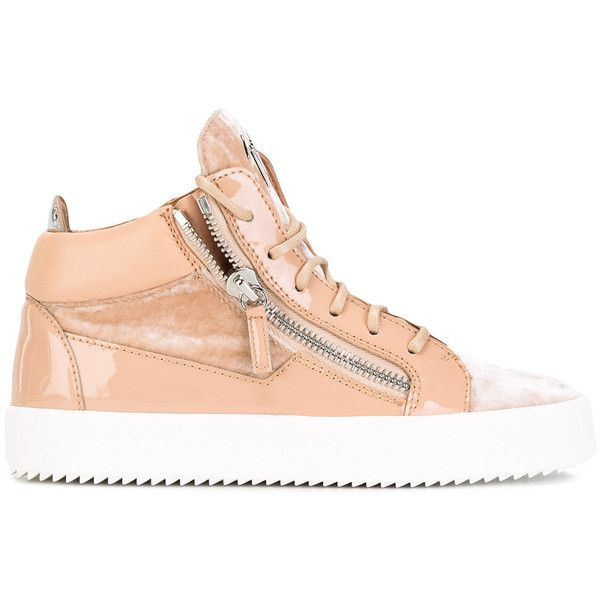 Giuseppe Zanotti Design Kriss mid-top sneakers ($350) ❤ liked on Polyvore featuring shoes, sneakers, lace up shoes, lacing sneakers, round toe sneakers, laced shoes and giuseppe zanotti trainers