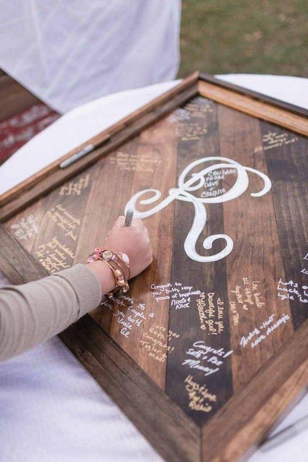 rustic wooden frame wedding guest book #weddingideas #weddingguestbooks
