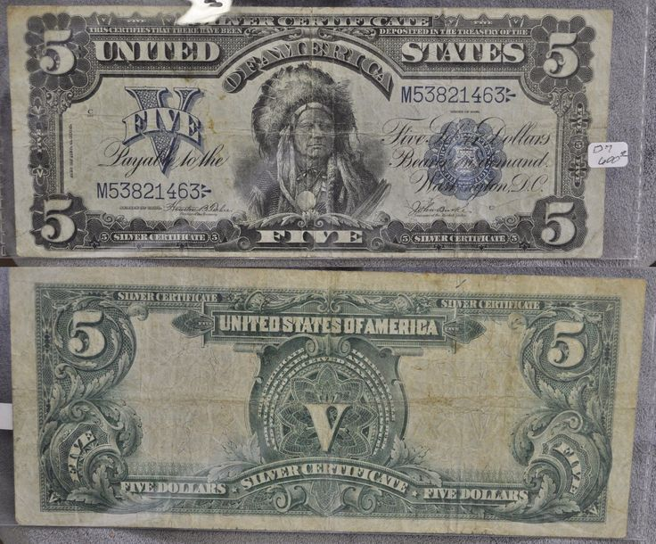 Paper Money: $5 Bill Series 1899 Large Note Silver Certificate Chief BUY IT NOW ONLY: $495.0