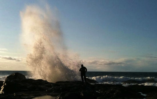 Masset, or rather Haida Gwaii.....I LOVE this spot!!  It's at the end of a beautiful trail, and as the tide comes in this blow hole sprouts!!