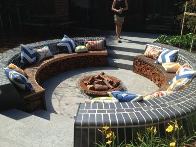 Lush sunken fire pit | Nathan Burkett Design.  Wish I lived somewhere cold.