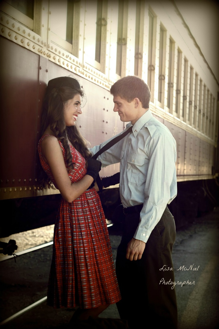 click the pic to see Vintage engagement photography inspiration with an old train, 1940s and 1950s clothes, Dallas photographer