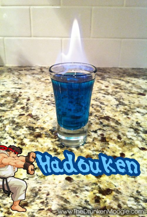 Ingredients:  3/4 oz blue curacao  3/4 oz Fireball Cinnamon Whisky  Splash of Bacardi 151    Directions:Mix the blue curacao and Fireball in a shot glass. Layer a thin bit of Bacardi 151 (or other overproof rum) on the top and light on fire. Block to extinguish and drink! Add more Bacardi 151 to the top to make it a Shinkuu Hadouken.
