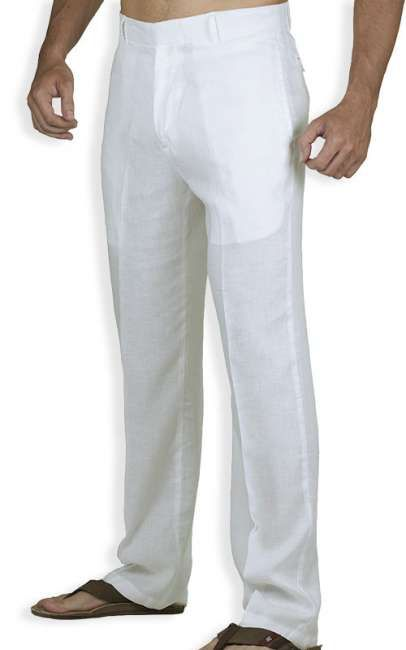 Planning a beach side wedding or just want a nice pair of pants to wear in the summer? Check out this Tropical White Linen Men Pants - very nice classic style! #hawaiianwear