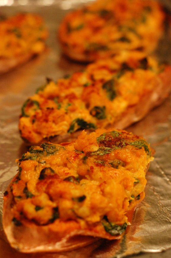 Stuffed Curried Sweet Potato with Hominy and Spinach (Vegan)