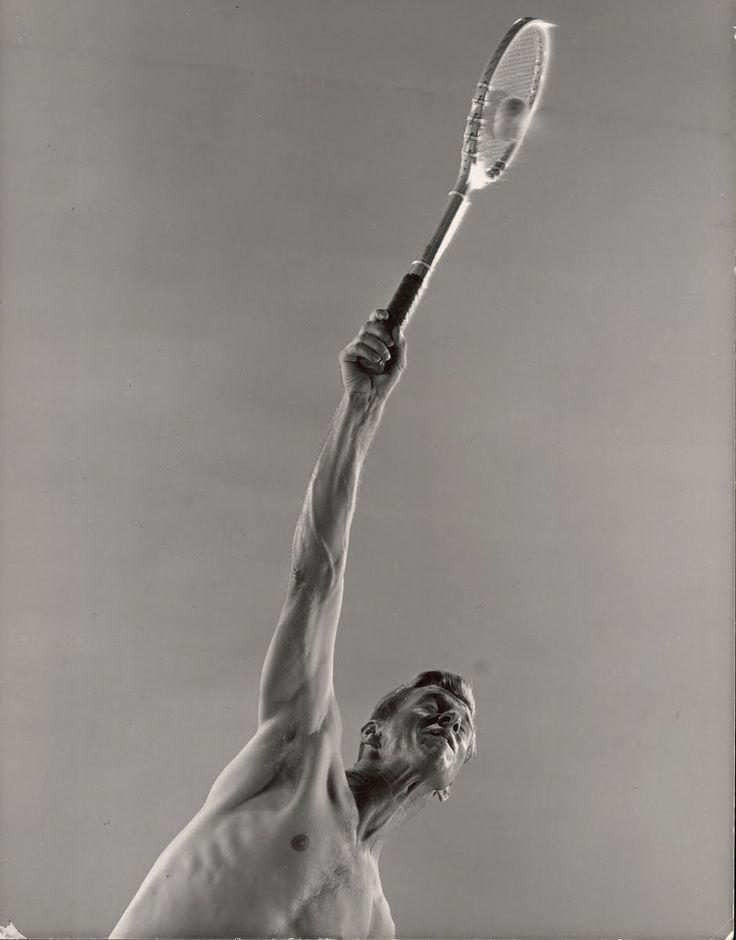 Tennis champion Don McNeil showing off his powerful serve technique for  photographer Gjon Mili.