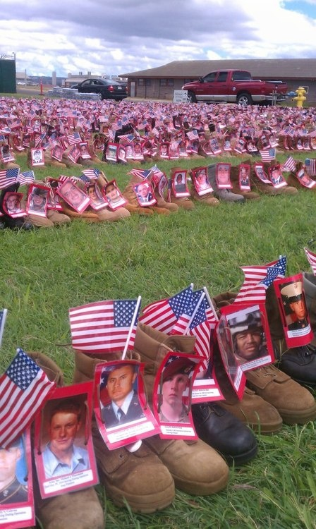 Boots for each fallen hero during the Afghanistan/Iraq war.  DO YOU REMEMBER THE 'DAILY TOLLING' OF THE NUMBER OF SOLDIERS KILLED DURING THE IRAQ WAR??  IT WAS A DAILY NEWS REPORT.   HAVE YOU HEARD EVEN 'ONE WORD' ABOUT THE LOSSES UNDER 'OBAMA'?  THE NUMBER OF DEAD IN AFGHANISTAN UNDER OBAMA IS OVER 'TWICE' THE NUMBER KILLED UNDER BUSH.  DOES THE NEWS TELL YOU EVERY DAY???  WHY ARE WE STILL THERE?  OBAMA PLEDGED TO 'SURGE' AND THEN GET OUR BOYS OUT.   ANOTHER OBAMA LIE.  ANOTHER OBAMA…