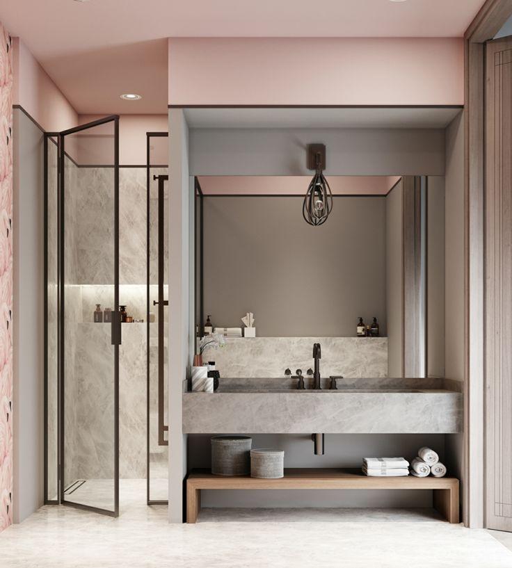 Bathroom Furnishing Modern Concrete Black Accents Bathroom Fittings Pink A Badezimmer Innenausstattung Badezimmer Einrichtung Haus Innenarchitektur
