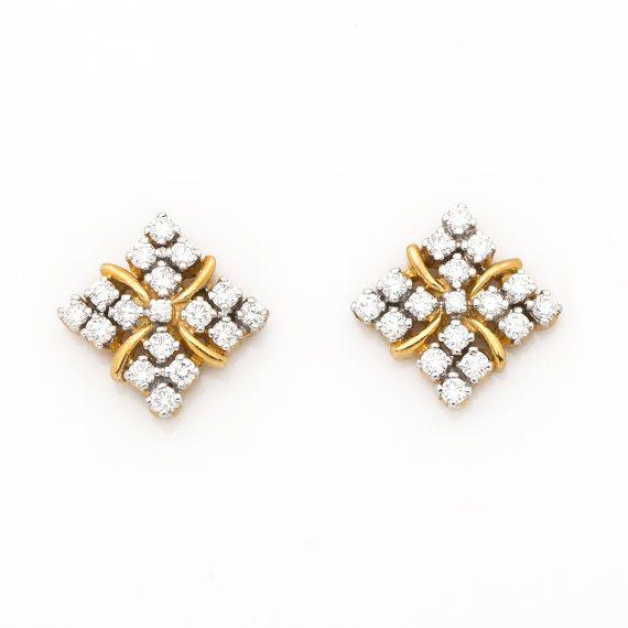 Diamond earrings in 18K Gold, Diamond Studs, Stud earrings, Diamond Gold Earrings, Gold Earrings, 18K Yellow Gold Diamond Earrings