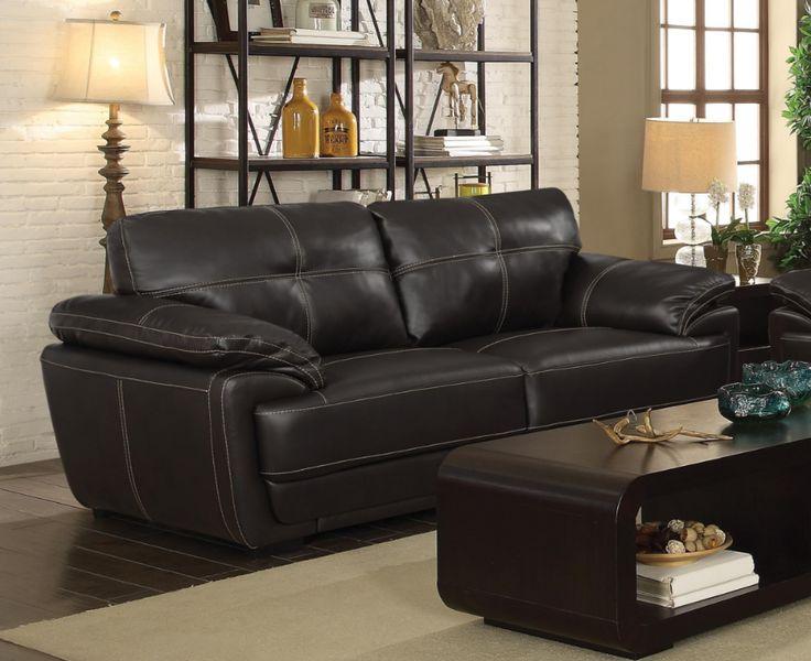 Zenon sofa and loveseat leatherette dark brown 2pc set CO-551101-S2
