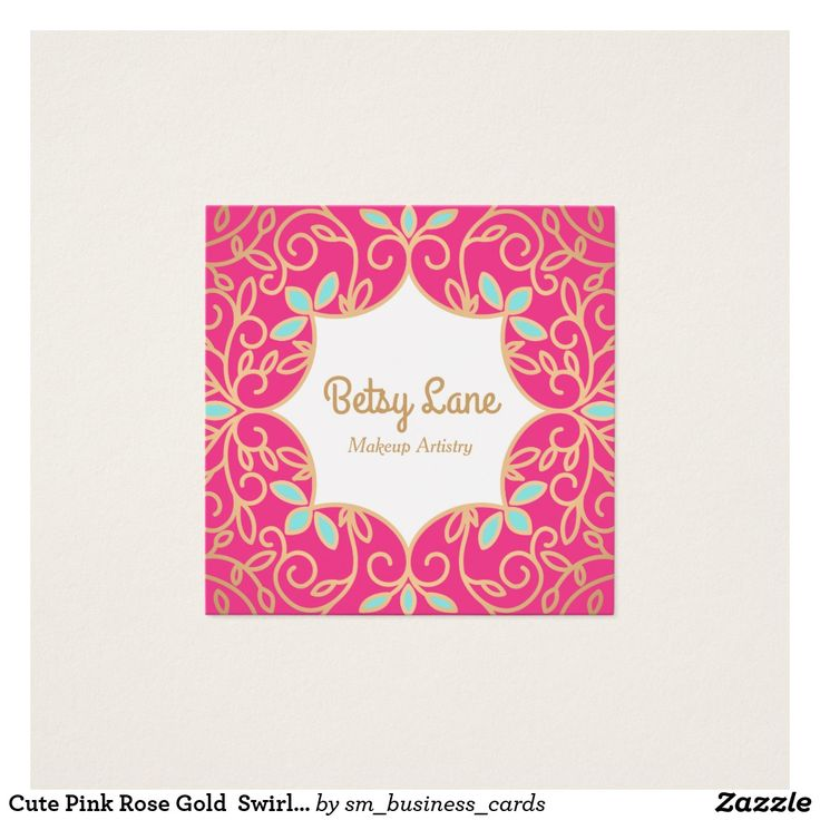 The 182 best makeup artist business cards images on pinterest make cute pink rose gold swirls makeup artist square business card reheart Choice Image