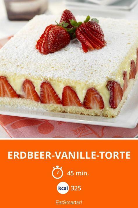 Frühling bedeutet gleichzeitig auch Erdbeerzeit! Diese Erdbeer-Vanille-Torte heitert dich sicher auch bei schlechten Frühlingstagen auf!