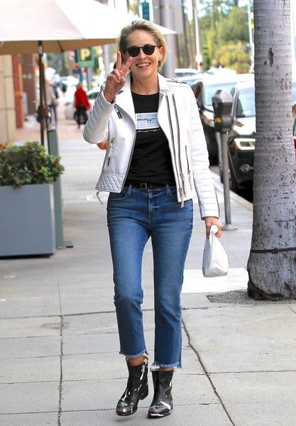 Sharon Stone Photos Photos - Actress Sharon Stone was seen looking stylish in quilted grain white leather jacket and some paint splattered boots as she took pre-Valentine's trip to get a pedicure at the nail salon in Beverly Hills, California on February 13, 2017. - Sharon Stone Looks Stylish At The Nail Salon