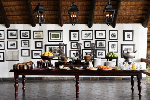 Breakfast buffet table at Londolozi Game Reserve #travel #Africa #hotel