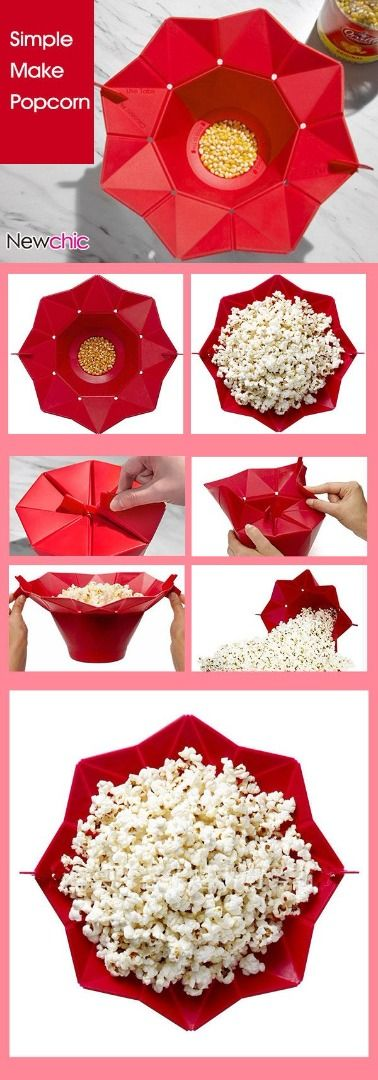 A silicon basket to fold and make a perfect popcorn for Friday movie night