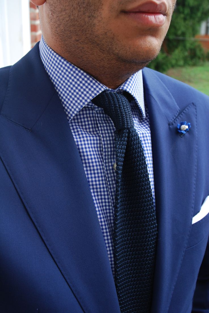 Blue suit blue gingham shirt navy knit tie wedding for Navy blue gingham shirt