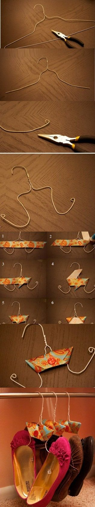 Shoe hangers...after working at a Dry-cleaners, I grew to DESPISE wire hangers. Finally, they have redeemed themselves.